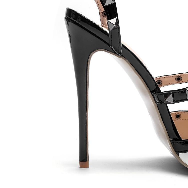 Las Defilè Sandalias Super Shown Moña Zapatos Blanco De As Mujeres Punta Remaches T Correa Tobillo Mujer Negro Cuero Gladiadores Tacones Alta qtRBZtY