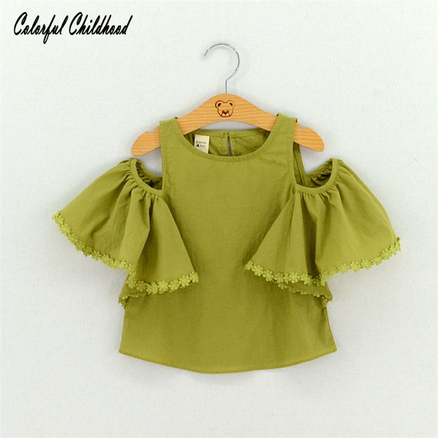 3295731c7e3 Casual baby girls clothes summer off shoulder design petal short sleeve  100% cotton tops children clothing 2-7Yrs