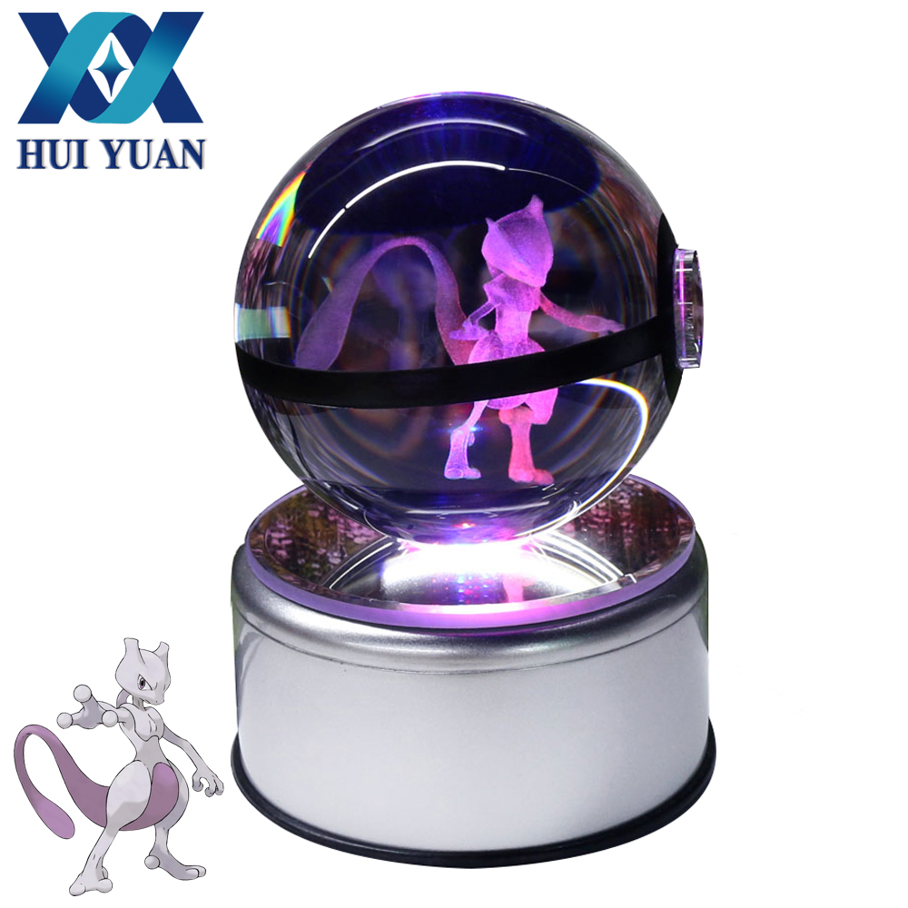 Mewtwo 3D Pokemon Crystal Ball Fancy LED Lighting and Spinning Primary Base Advance 3D Laser Engraving Valentine Childrens Gift майка print bar mewtwo pokemon