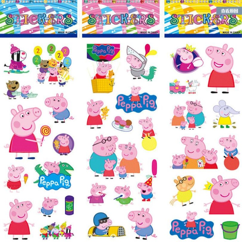 Peppa Pig 3D Bubble Sticker Cartoon Toy Pink Pig Pig Sticker Toy Action Character Child Toy Gift