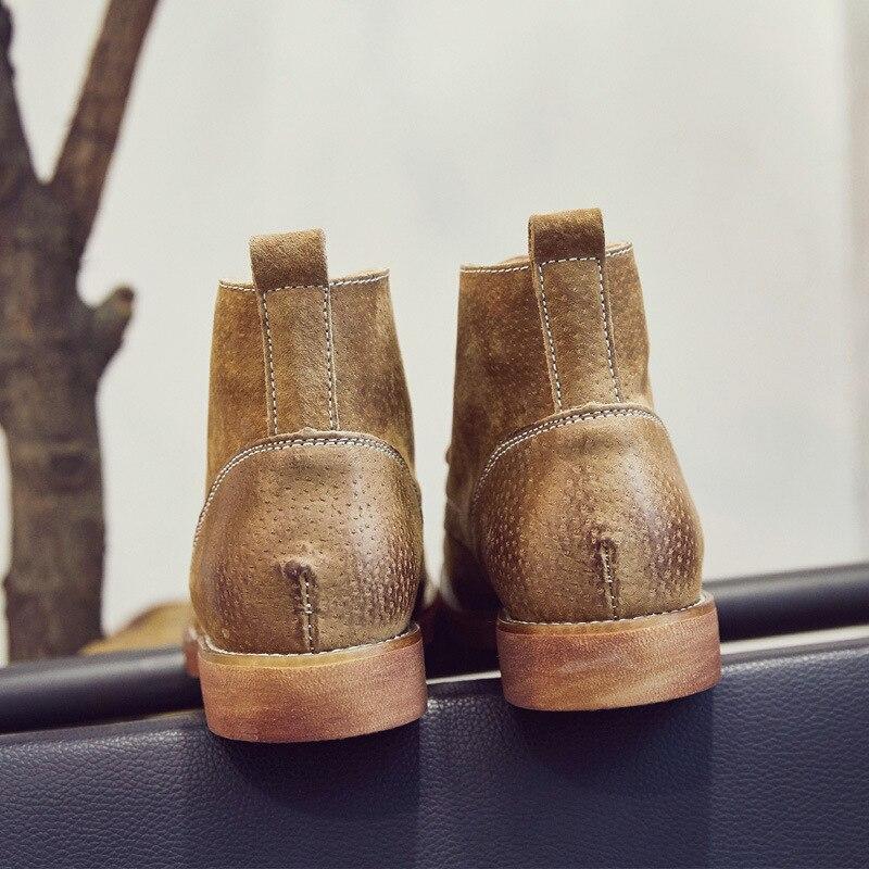 Confort Simple Femmes 2018 Non Noir camel En Véritable Rétro Automne Cuir slip Martin Nouveau Plat Chaussures Bottes Dentelle Mat hxtdCsQr