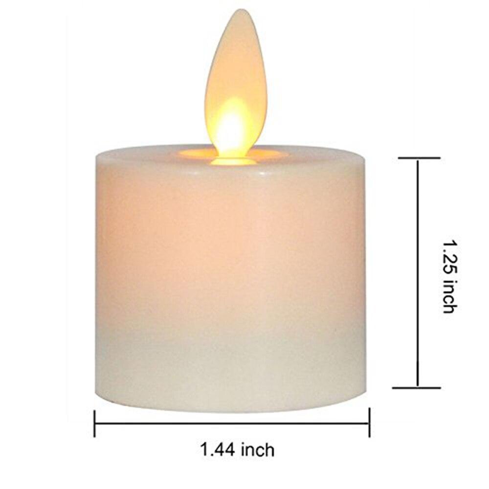 Ksperway LED Rechargeable sans flamme thé bougies ABS plastique avec minuterie/télécommande/support de chargeur ivoire lot de 6 - 6