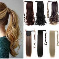 WTB cheveux longs bouclés cheveux raides queue de cheval synthétique clip queue de cheval clip résistant à la chaleur dans l'extension de cheveux queue de cheveux