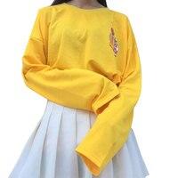 2016 New T Shirts Women Kpop Harajuku T Shirt Female Loose Long Sleeve Cartoon Yellow Tops