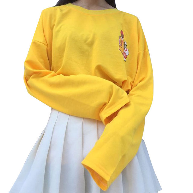 2018 New T-shirts Women Kpop Harajuku T Shirt Female Loose Long Sleeve  Cartoon Yellow Tops Tee Funny Lady Clothing Autumn Tshirt 2d34906ab048