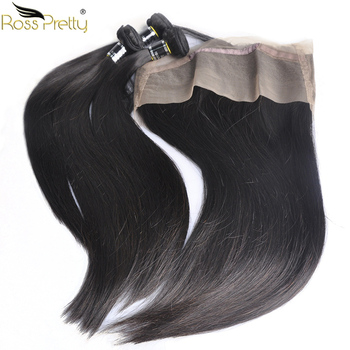 Ross Pretty Remy Peruvian Straight Hair 360 Lace Frontal with Bundles Natural Human Hair Weave bundles with frontal Pre Plucked image