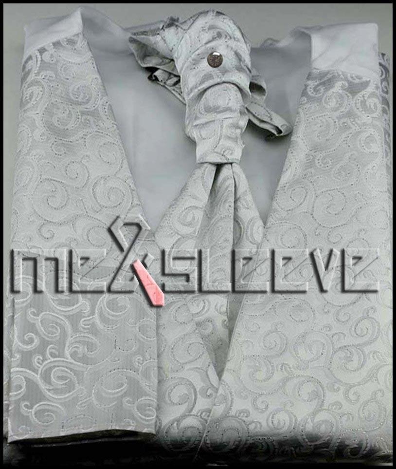 free shipping men designer fancy swirl Waistcoat vest ascot tie cufflinks handkerchief