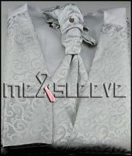 free shipping men designer fancy swirl Waistcoat(vest+ascot tie+cufflinks+handkerchief)