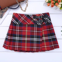 Cheerleading Dance Skirt Teens Kids Jazz Dance Dress Tartan Pleated Kilt Girls Japanese Style School Class Plaid Mini Skirts(China)