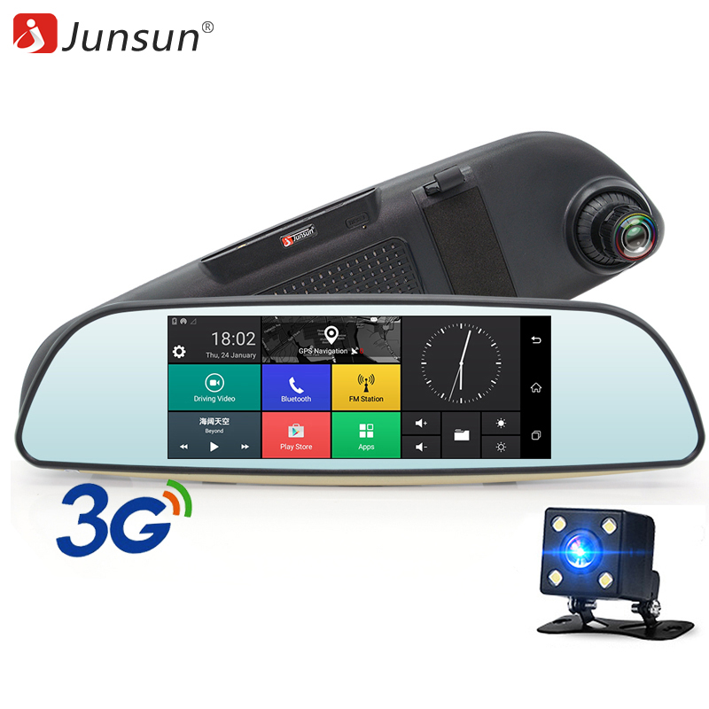 """Junsun 6.5 """"Автомобильные видеорегистраторы 3g Зеркало заднего вида с  видеорегистратором и камера двойной для записи объективов Full HD 1080P рекордеры Android 5.0 GPS-навигатор с видеорегистратopom"""