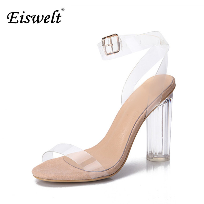 Eiswelt 2017 Jelly Sandals Open Toe High Heels Women Transparent Perspex Shoes Thick Heel Clear Sandals Plus Size35-43#GMJ23 2016 hot sale crystal wedges transparent women high heeled sandals plus size 40 43 rhinestone peep toe jelly shoes aa016
