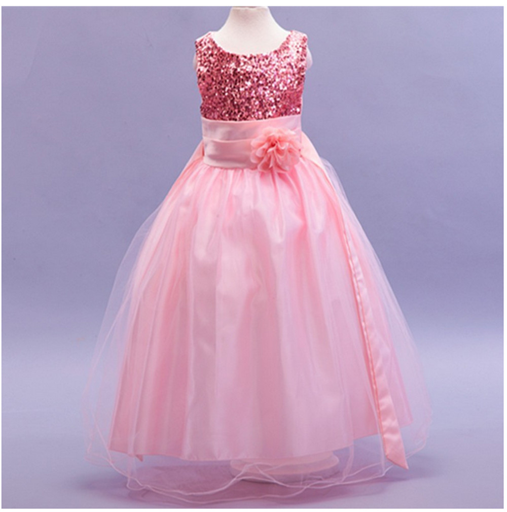 Baby Pink Children Clothes Girl Costumes Wedding Dresses For Girls Birthday Outfits Teenager Girl Kids Ball Party Wear
