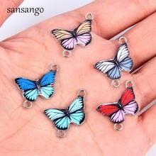 10 шт трендовая эмаль смешанных цветов из сплава в форме бабочки