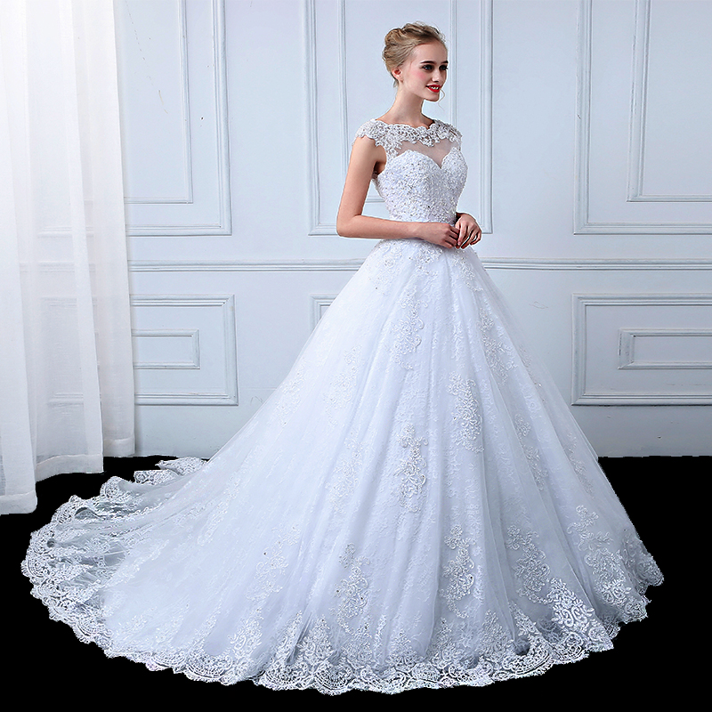wuzhiyi vestido de noiva wedding dress 2018 Ball Gown Lace Appliques vestido de casamento robe mariage trouwjurken bride dress