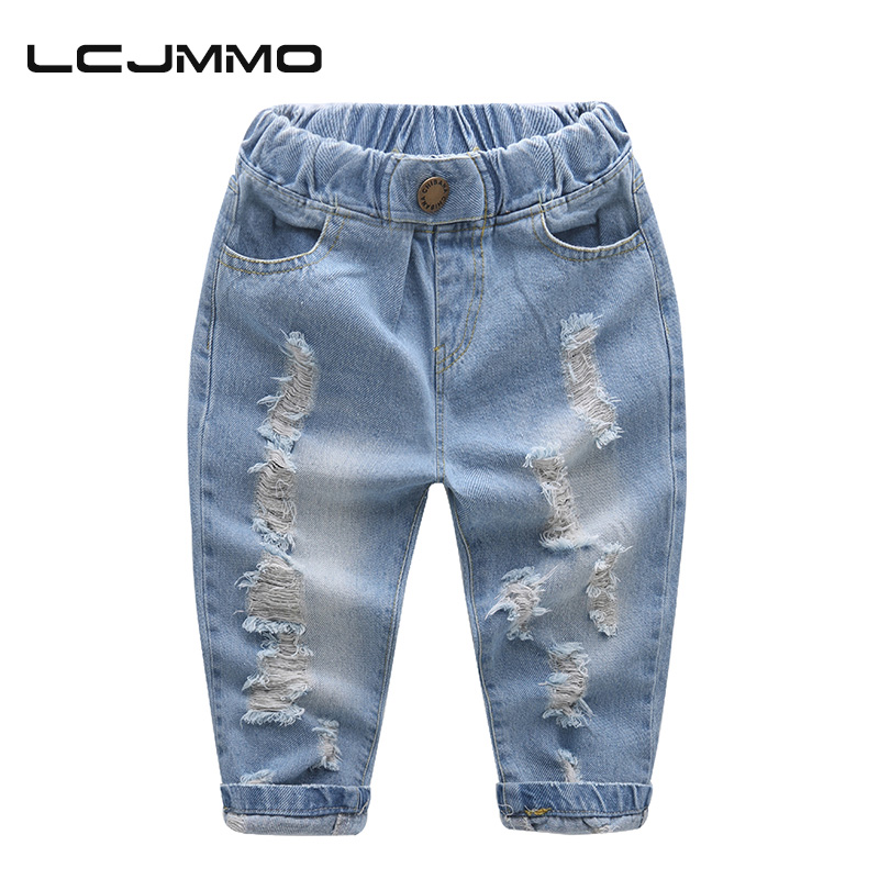 LCJMMO High Quality Boys jeans 2017 Ny sommer baby gutt Denim jeans Bomull casual Ripped jeans for barn Bukser Kids Bukser