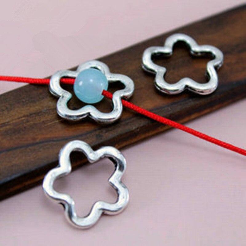 TJP 20 pcs Tibetan Silver Pentagram Star Flower Spacer Beads Charms Hollow Open for Bracelets DIY Jewelry Making Findings 16mm
