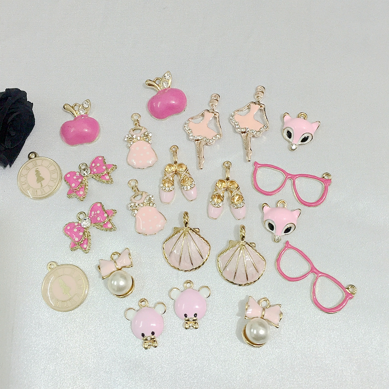 Promotion 22Pcs Mix 11 Styles Pink Color Glass Rhinestones + KC Gold Glazing Alloy Pendants Jewelry Charms image