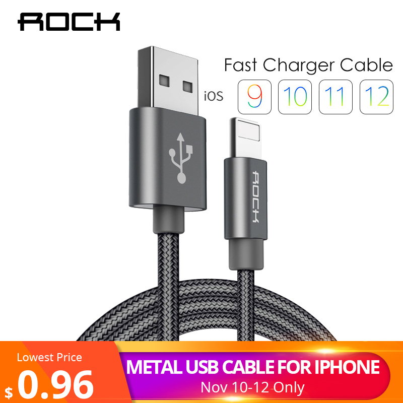 ROCK for iPhone Cable Fast Charger Lighting USB Cables Charging Cord For iPhone XS MAX XR X 7 8 6 5S 6S SE Plus iPad Phone Cable for iphone xs max xr xs x selfie stick for iphone x 8 7 6 6s plus 5 5s wired selfie stick extendable monopod for lightning