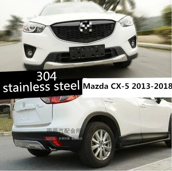 JIOYNG Stainless Steel  CAR FRONT+REAR BUMPERS PROTECTOR GUARD SKID PLATE FOR 13 18 Mazda CX 5 2013 2014 2015 2016 2017 2018|Bumpers| |  - title=