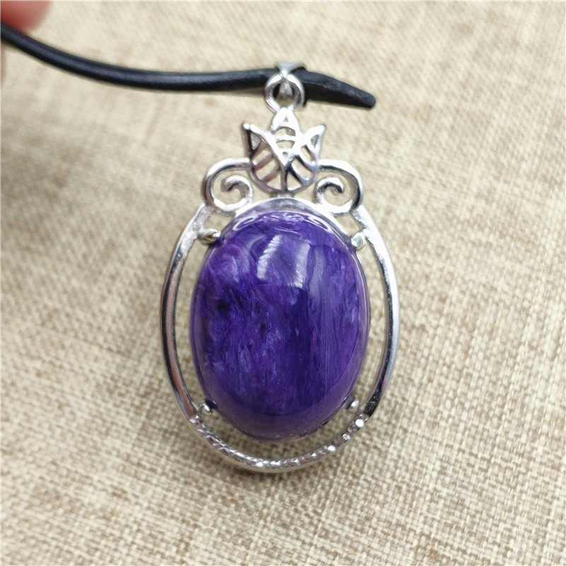 Natural Purple Charoite Pendant Crystal Stone Beads Men Woman Love Gift Jewelry 925 Sterling Silver 33x22mm Necklace Pendant