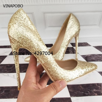 Women Pumps Extrem Sexy Pointed Toe High Heels Women Shoes Thin Heels Female Wedding Shoes Party Shoes Gold Sequins Ladies Shoes