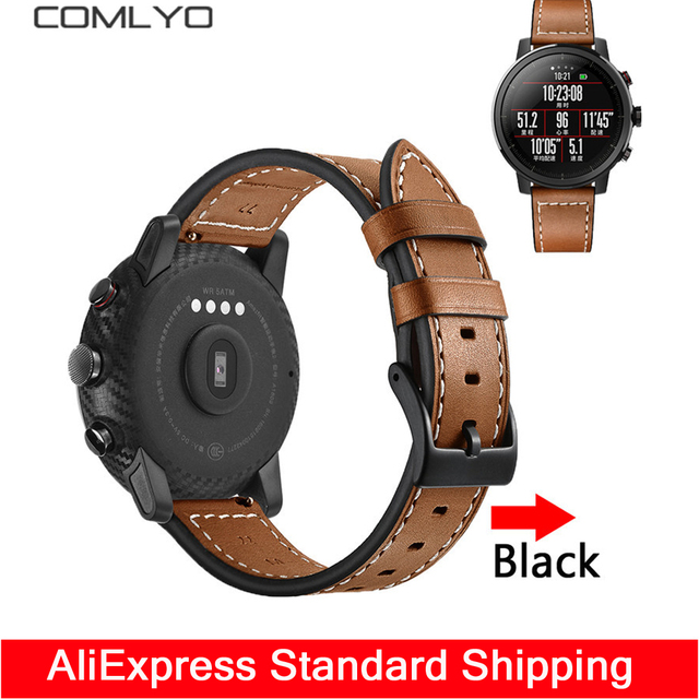 a7c51dba6 For Xiaomi Huami Amazfit Stratos pace 2 strap band smart watch Leather 22mm  wristband for Gear S3 Ticwatch Moto 360 2 Band belt