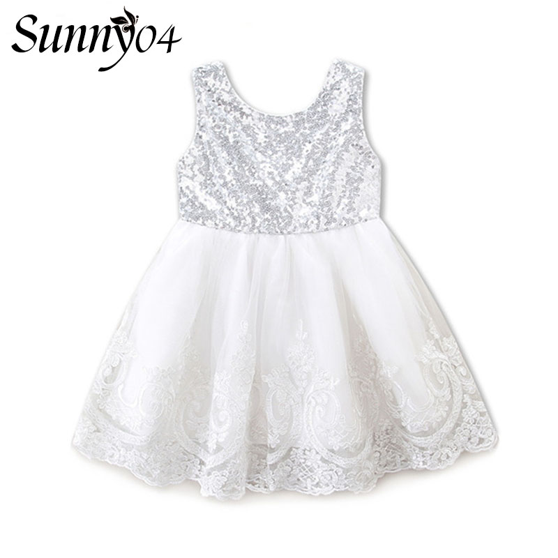 New Baby Kids Girl Clothing Dresses 2017 Bow Knot Lace Sequins XMAS Party Formal Silver White Bridesmaid Ball Cute Girls Dress cute baby kids girls first walkers bow knot ribbon soft floral soled crib shoes white