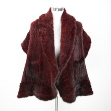 S1563 New 2016 Women Real Mink Fur Thick Knitted Poncho Or Lady Winter Fur Cape Wholesale / Retail