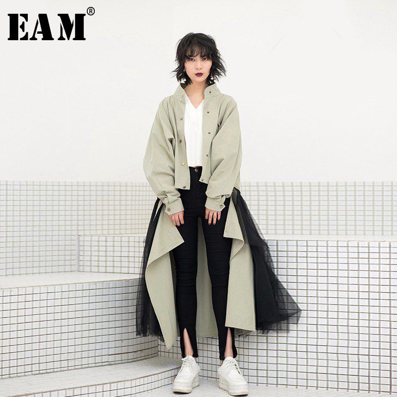 EAM 2019 New Spring Tide Army Green Removable Sunscreen Loose Coat Gauze Skirt Two Piece