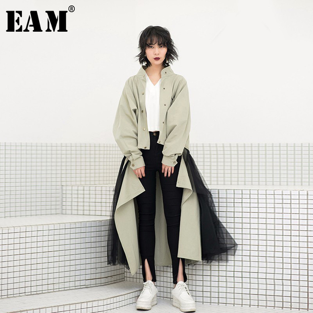 [EAM] 2019 New Spring Tide Army Green Removable Sunscreen Loose Coat + Gauze Skirt Two Piece Suit Women Fashion JF360