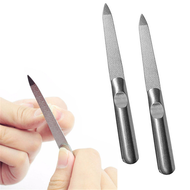 1PC Professional Stainless Steel Nail File Buffer Metal Double Side Grinding Rod Manicure Pedicure Scrub Nail Arts Tools Thick