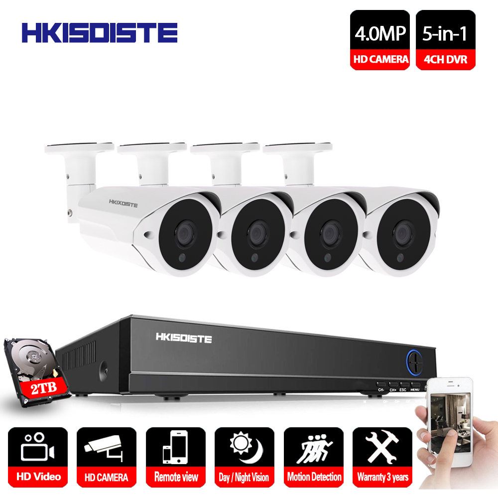 4CH adh Security Camera System H.264 CCTV HD DVR Kit 4MP IR Outdoor Night Vision Camera Home Video Surveillance home security system 16ch h 264 motion detect camera system dvr kit with 800tvl waterproof outdoor ir night vision cctv camera
