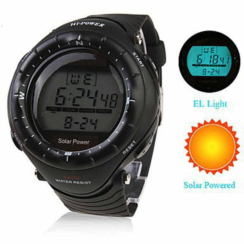 Multifunctionele Solar Power led Digitale Sport Polshorloge mannen Vrouw Unisex El-verlichting STOPWATCH 3ATM Waterdicht Relogio