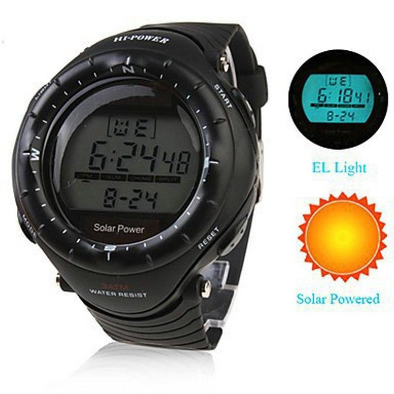 Multi-función de la energía solar led digital deportes reloj hombre mujer unisex Fondo el cronómetro 3ATM impermeable Relogio