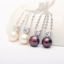 DAIMI Glitter Necklace 9-10mm Natural White Pearl Pendant 925 Sterling Silver Pendant Necklace Shine Jewelry
