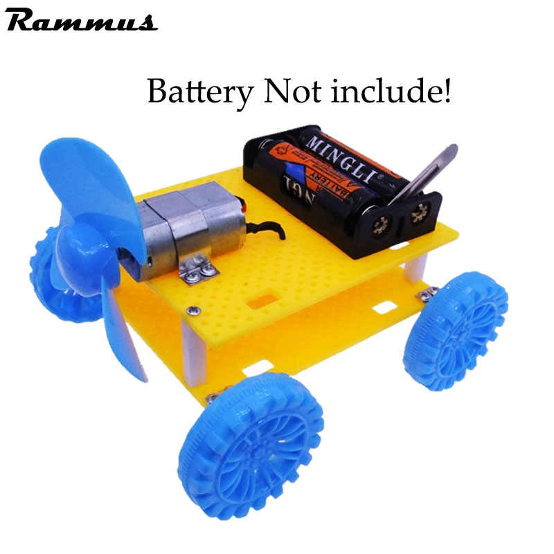 DIY Wind Power Vehicle Car Model Kit 3 Wings Handmade Scientific Experiments Education Toys For Kids For Parent-child Hand Work