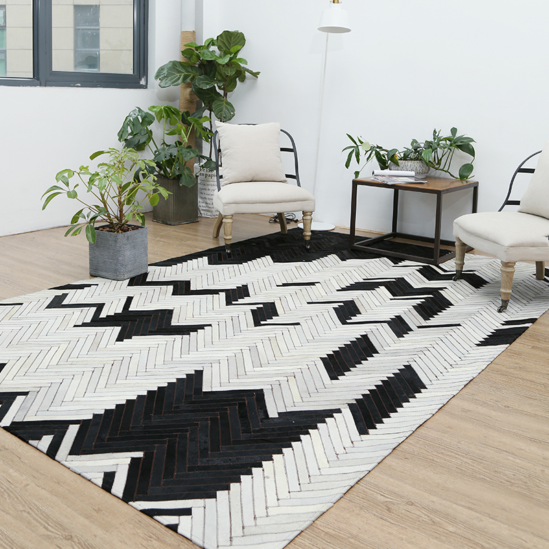 FAMIFUN Genuine Cowhide Leather Patchwork Rug For Living Room Bedroom Extra Large Is 200*300cm For 100% Natural Cowhide Carpet