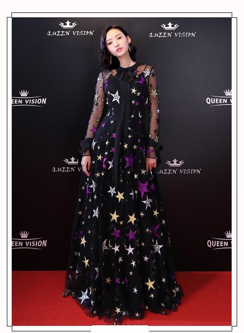 Ultra Long Women Stars Pattern Fashion Mesh Dress Summer Sexy Evening Banquet Dress Party Dress