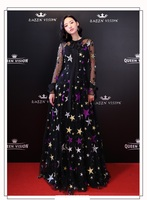 Ультра длинные Для женщин Звезды Pattern Мода Сетчатое платье летние пикантные вечернего банкета платье вечерние платье