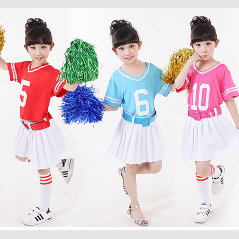 Free shipping,red blue children school game party girl cheerleading cheerleader dance costume dress white skirt Uniform