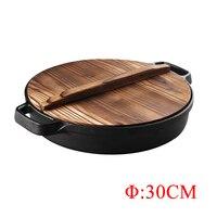 ZITING 30cm Pancake Pan With Wood Pot Cover Non Stick No Smoke Multi function Skillet Fried Cake Meat Kitchen Tools