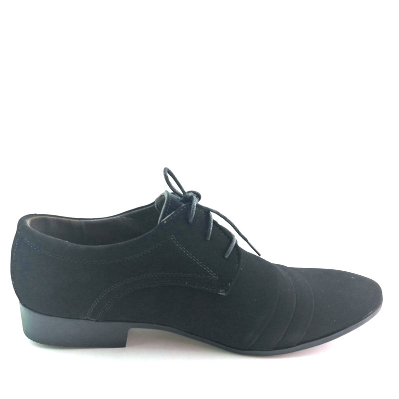 Cheapest black dress shoes mens Nubuck leather shoes wedding black shoes lace up Pointed toe Double buckle leather flats AB-27