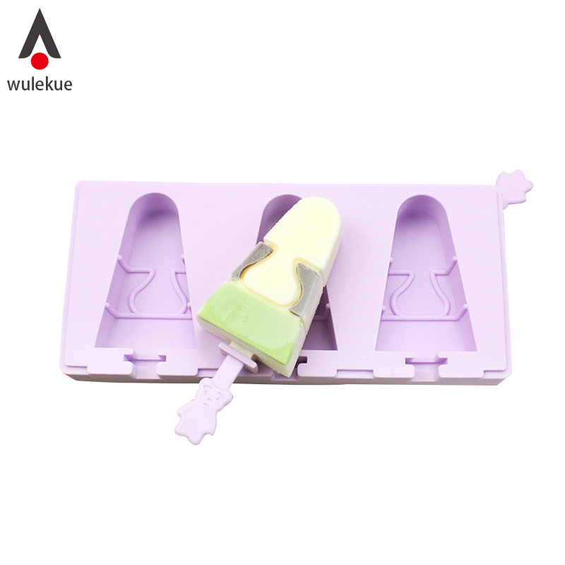 Wulekue 1Set Ice Cream Silicone Mold 3 Holes Popsicle Maker With Dust Cover Sticks