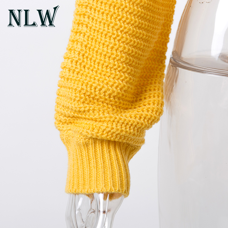 NLW Lace Up Crop Casual Women Sweater 19 Autumn Winter Knitted Pullovers Long Sleeve O Neck Loose Jumper Top Bandage Sweater 11