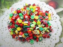 Großhandel 100Pcs Gemischt Stil Farbe Polymer Clay Handwerk Obst Scheibe Perlen Scrapbooking Perlen Ton Dekoration 10mm B00419