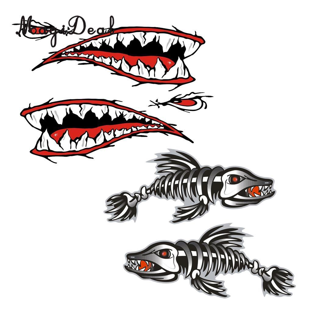 4Pcs Large Shark Mouth Teeth /& Fish Skeleton Decal Kayak Boat Dinghy Sticker