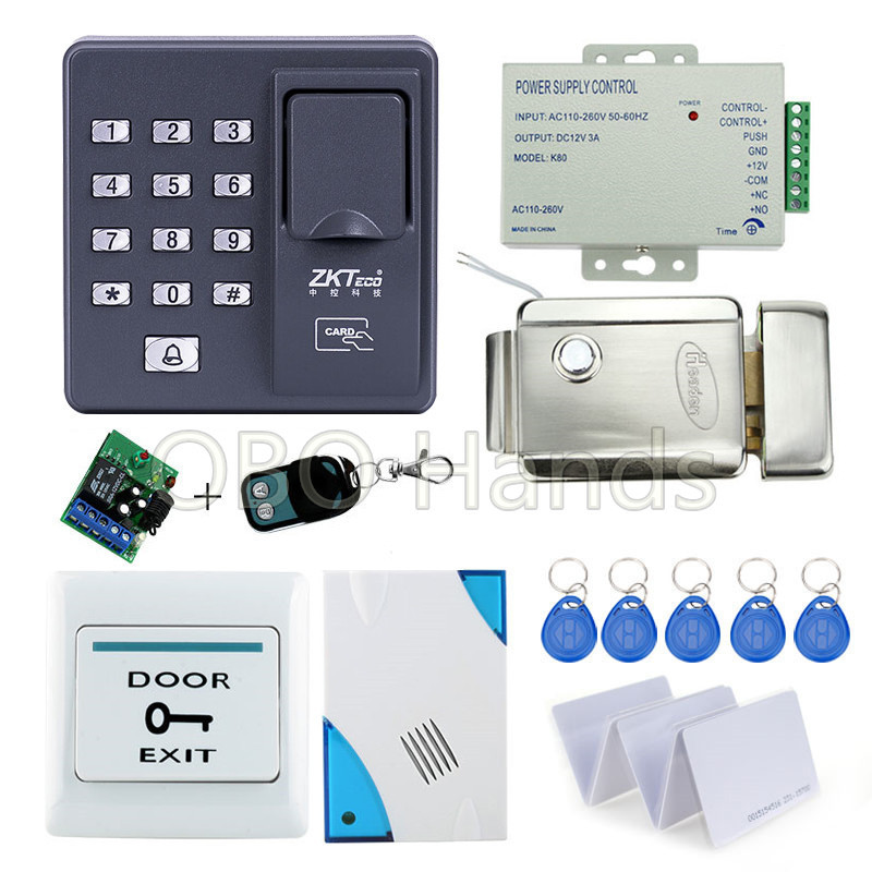 Fingerprint scanner keypad rfid key fob reader X6+electronic lock+power supply+exit button+door bell+remote control+key cards