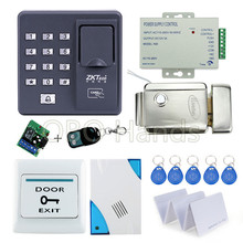 Fingerprint scanner keypad rfid key fob reader X6+electronic lock+power supply+exit button+door bell+remote control+key cards