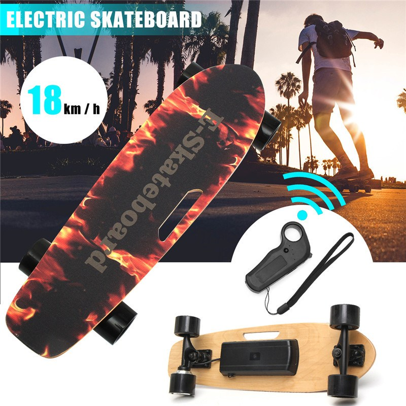 250W 18km/h Electric Skateboard Wireless Remote Control Longboard Skate Complete Deck Longboard Hoverboard For Kids Adults 4 wheel electric skateboard single driver motor small fish plate wireless remote control longboard waveboard 15km h 120kg