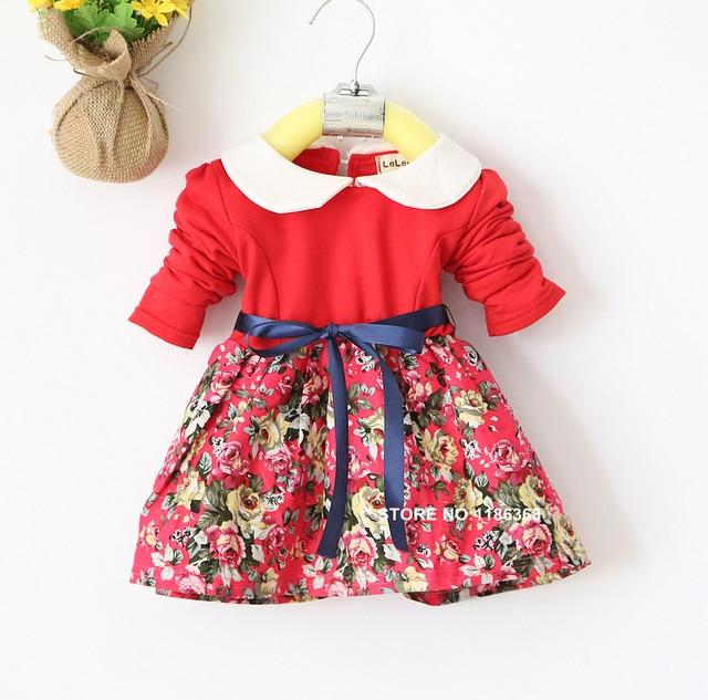 bac82e3d3 4M 24M Hot Selling girls dresses printed flower long sleeve spring ...